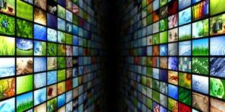 Τοίχοι βίντεο και εικόνας πολυμέσων Στοκ Εικόνες