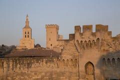 Τοίχοι πόλεων, καθεδρικός ναός και Palais des Papes Palace  Αβινιόν Στοκ Εικόνες
