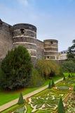 Τοίχοι του κάστρου της Angers, Γαλλία Στοκ Εικόνες