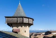 Τοίχοι φρουρίων στο Carcassonne Γαλλία Στοκ Εικόνα