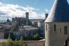 Τοίχοι φρουρίων στο Carcassonne Γαλλία Στοκ Εικόνες