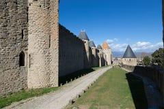 Τοίχοι φρουρίων στο Carcassonne Γαλλία Στοκ εικόνα με δικαίωμα ελεύθερης χρήσης