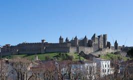 Τοίχοι φρουρίων στο Carcassonne Γαλλία Στοκ Φωτογραφίες