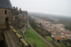 Τοίχοι φρουρίων του Carcassonne Στοκ Εικόνες