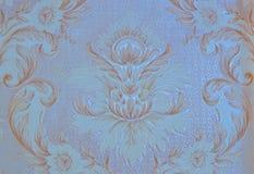 Τοίχος, έγγραφο, ταπετσαρία, με το αρχικό, χρυσό, floral σχέδιο, μπλε υπόβαθρο, ανακαίνιση, σχέδιο Στοκ Εικόνες