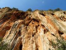 Τοίχος αναρρίχησης βράχου σε Geyikbayiri, Τουρκία Στοκ Φωτογραφία