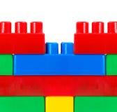 Τοίχος από τον πλαστικό χτίζοντας κατασκευαστή Στοκ Φωτογραφία