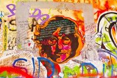 Τοίχος γκράφιτι του John Lennon στο νησί Kampa στην Πράγα Στοκ Φωτογραφίες