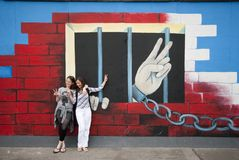 τοίχος ειρήνης δάχτυλων τ& Στοκ Εικόνες