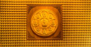 Τοίχος εκατομμύριο αγάλματος Λόρδος Buddhas στοκ εικόνες