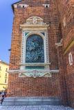 Τοίχος Κρακοβία-Πολωνία-τούβλου της εκκλησίας Mariacki στοκ φωτογραφίες