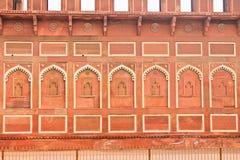 Τοίχος, κόκκινο οχυρό, Agra Στοκ Φωτογραφία