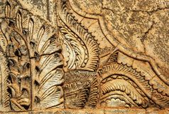 Τοίχος με τη γλυπτική πετρών Στοκ φωτογραφίες με δικαίωμα ελεύθερης χρήσης
