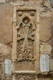Τοίχος με τις σφραγίδες των αρχαίων νωπογραφιών στοκ εικόνες με δικαίωμα ελεύθερης χρήσης