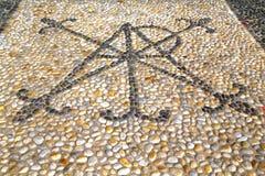 τοίχος Μιλάνο της Ιταλίας στην παλαιά πέτρα μωσαϊκών εκκλησιών συγκεκριμένη Στοκ Εικόνες