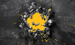 Τοίχος που σπάζουν στα κομμάτια Στοκ εικόνα με δικαίωμα ελεύθερης χρήσης
