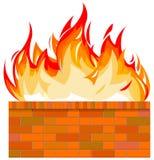 τοίχος πυρκαγιάς τούβλ&omicron Στοκ εικόνες με δικαίωμα ελεύθερης χρήσης