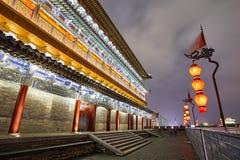 Τοίχος πόλεων Xian τη νύχτα, επαρχία Shaanxi, Κίνα Στοκ Φωτογραφία