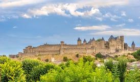 Τοίχος πόλεων του Carcassonne - Γαλλία Στοκ Φωτογραφίες