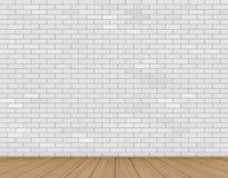 Τοίχος του άσπρου τούβλου και του ξύλινου πατώματος Στοκ Φωτογραφίες