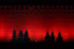 Τοίχος του Κρεμλίνου νύχτας Στοκ Φωτογραφίες
