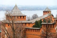 Τοίχος του Κρεμλίνου σε Nizhny Novgorod, Ρωσία Στοκ εικόνες με δικαίωμα ελεύθερης χρήσης