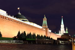 Τοίχος του Κρεμλίνου, Σύγκλητος και πύργος Συγκλήτου, πύργος Nikolskaya και Leni Στοκ φωτογραφίες με δικαίωμα ελεύθερης χρήσης