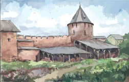 Τοίχος του μοναστηριού, watercolor Στοκ Φωτογραφίες