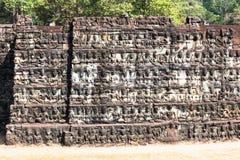 Τοίχος του πεζουλιού του βασιλιά λεπρών, Angkor Wat, Καμπότζη Στοκ Εικόνες