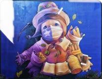 Τοίχος του Σαντιάγο de Χιλή που χρωματίζει Inti στοκ φωτογραφίες