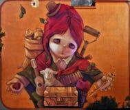 Τοίχος του Σαντιάγο de Χιλή που χρωματίζει Inti στοκ εικόνα