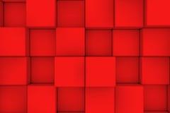 Τοίχος των κόκκινων κύβων αφηρημένη ανασκόπηση Στοκ Εικόνες