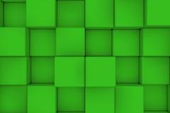 Τοίχος των πράσινων κύβων αφηρημένη ανασκόπηση Στοκ Εικόνες