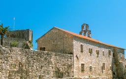 Τοίχος φρουρίων της παλαιάς πόλης Budva - του Μαυροβουνίου στοκ φωτογραφίες