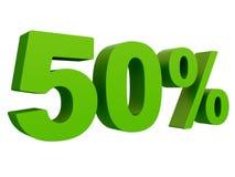 Τοις εκατό από την έκπτωση % τρισδιάστατο πράσινο κείμενο που απομονώνεται σε μια άσπρη τρισδιάστατη απόδοση υποβάθρου διανυσματική απεικόνιση