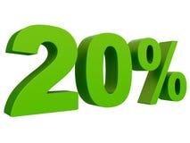 Τοις εκατό από την έκπτωση % τρισδιάστατο πράσινο κείμενο που απομονώνεται σε μια άσπρη τρισδιάστατη απόδοση υποβάθρου απεικόνιση αποθεμάτων