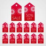 5 10 15 20 25 30 40 50 60 70 80 90 τοις εκατό από τις διανυσματικές ετικέτες ετικεττών αγορών Σύμβολα έκπτωσης για την πώληση Στοκ Εικόνα