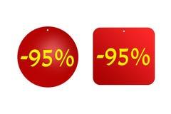 95 τοις εκατό από τις κόκκινες αυτοκόλλητες ετικέττες σε ένα άσπρο υπόβαθρο εκπτώσεις και πωλήσεις, διακοπές και εκπαίδευση Στοκ Φωτογραφία