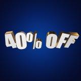 40 τοις εκατό από τις τρισδιάστατες επιστολές στο μπλε υπόβαθρο Στοκ εικόνα με δικαίωμα ελεύθερης χρήσης