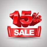 15 τοις εκατό από το κόκκινο έμβλημα κορδελλών πώλησης κυλούν το τρισδιάστατο ύφος Στοκ φωτογραφία με δικαίωμα ελεύθερης χρήσης