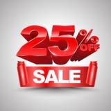 25 τοις εκατό από το κόκκινο έμβλημα κορδελλών πώλησης κυλούν το τρισδιάστατο ύφος Στοκ Εικόνα
