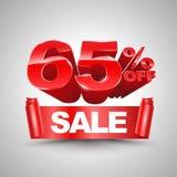 65 τοις εκατό από το κόκκινο έμβλημα κορδελλών πώλησης κυλούν το τρισδιάστατο ύφος Στοκ φωτογραφίες με δικαίωμα ελεύθερης χρήσης