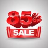 85 τοις εκατό από το κόκκινο έμβλημα κορδελλών πώλησης κυλούν το τρισδιάστατο ύφος Στοκ Εικόνες