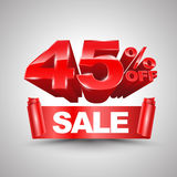 45 τοις εκατό από το κόκκινο έμβλημα κορδελλών πώλησης κυλούν το τρισδιάστατο ύφος Στοκ Φωτογραφία