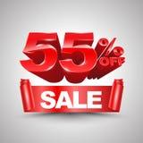 55 τοις εκατό από το κόκκινο έμβλημα κορδελλών πώλησης κυλούν το τρισδιάστατο ύφος Στοκ εικόνες με δικαίωμα ελεύθερης χρήσης