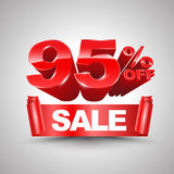 95 τοις εκατό από το κόκκινο έμβλημα κορδελλών πώλησης κυλούν το τρισδιάστατο ύφος Στοκ Εικόνα
