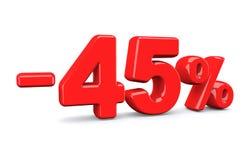 45 τοις εκατό από το σημάδι έκπτωσης Το κόκκινο κείμενο είναι απομονωμένο στο λευκό Στοκ Φωτογραφίες