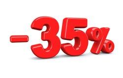35 τοις εκατό από το σημάδι έκπτωσης Το κόκκινο κείμενο είναι απομονωμένο στο λευκό διανυσματική απεικόνιση