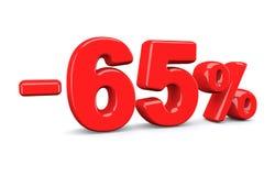 65 τοις εκατό από το σημάδι έκπτωσης Το κόκκινο κείμενο είναι απομονωμένο στο λευκό Ελεύθερη απεικόνιση δικαιώματος