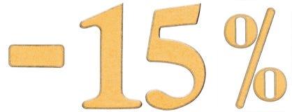 Τοις εκατό μακριά έκπτωση Μείον 15 δεκαπέντε τοις εκατό, αριθμοί isolat Στοκ Εικόνα